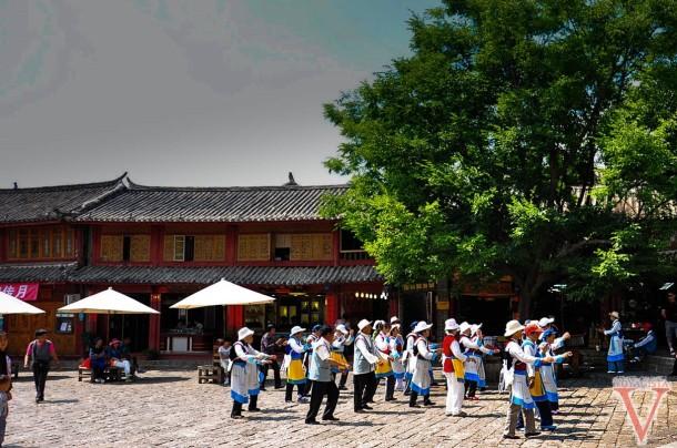 Naxi people dancing in Lijiang