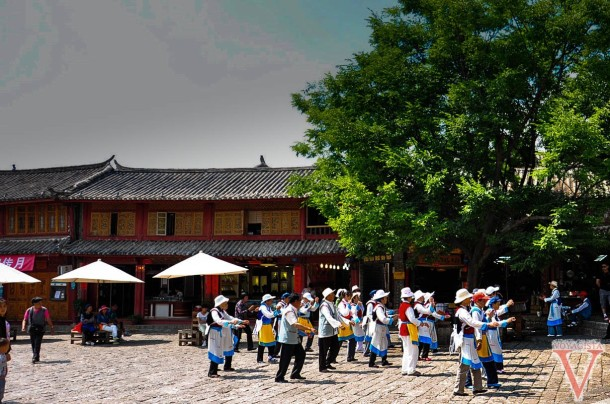 Naxi people dancing in Lijiang